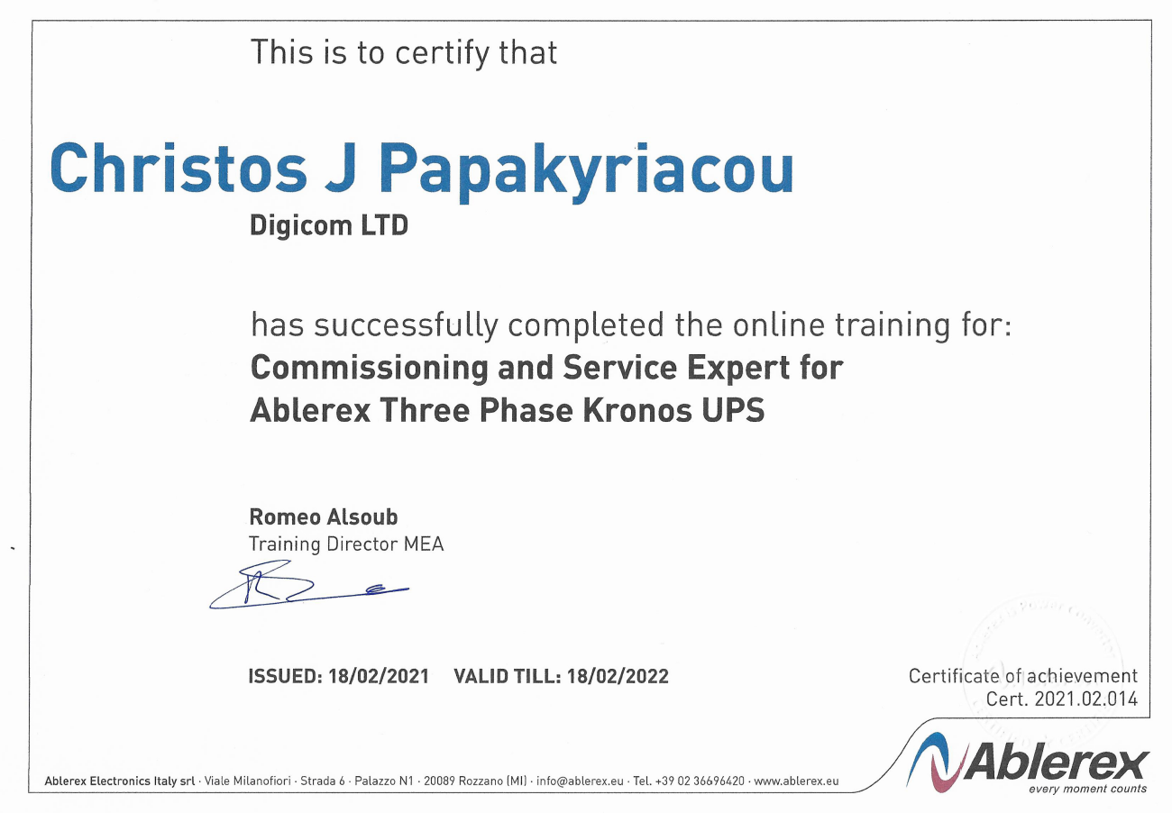 Ablerex Training Certificate